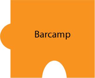 Puzzleteil mit Text: Barcamp