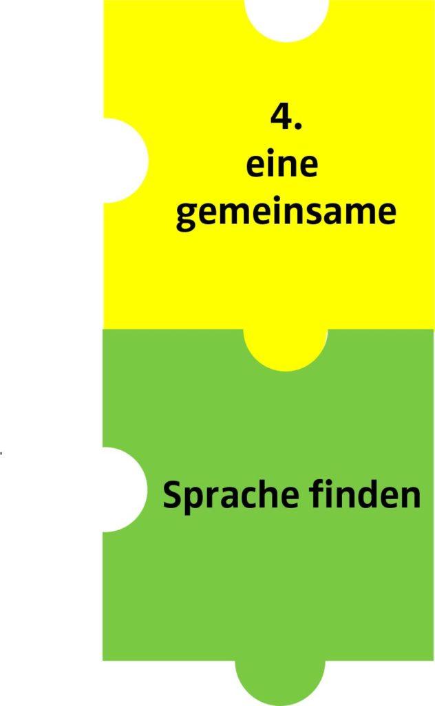 2 Puzzleteile mit Text: 4. eine gemeinsame Sprache finden