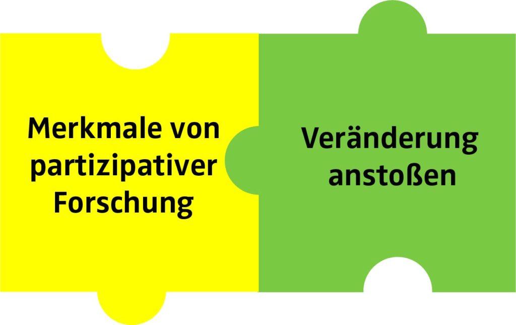 2 Puzzleteile mit Text:  Merkmale von partizipativer Forschung - Veränderung anstoßen