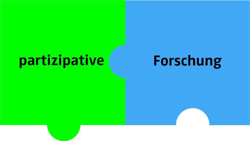 2 Puzzleteile mit Text: partizipative Forschung