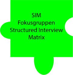 Puzzleteil mit Text: SIM, Fokusgruppen, Structured Interview Matrix