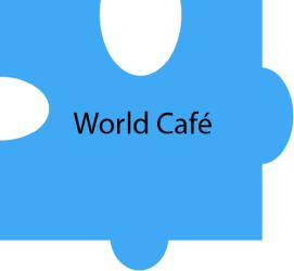 Puzzleteil mit Text: World Cafe