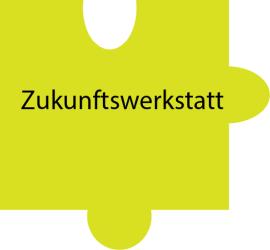 Puzzleteil mit Text: Zukunftswerkstatt